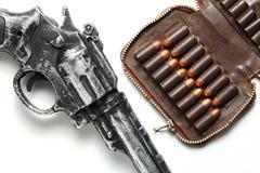 Escena del arma y de la bala Foto de archivo libre de regalías