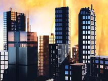 Escena del Armageddon en ciudad stock de ilustración