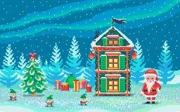 Escena del arte del pixel con Papá Noel y gnomos Imagen de archivo
