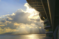 Escena del balcón del barco de cruceros Fotos de archivo libres de regalías