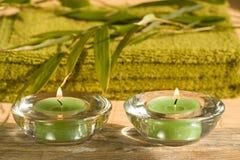 Escena del balneario con las velas Imagen de archivo libre de regalías