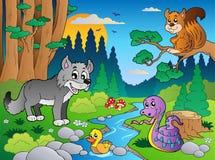 Escena del bosque con los varios animales 5 Imágenes de archivo libres de regalías
