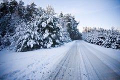Escena del camino en invierno Fotos de archivo