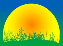 Escena del campo con vector de la puesta del sol Imágenes de archivo libres de regalías