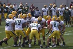 Escena del campo de entrenamiento del NFL de los embaladores del Green Bay Foto de archivo