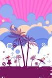 Escena del cartel del verano de la playa Fotos de archivo
