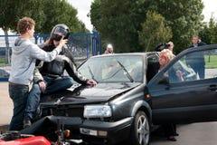 Escena del choque de coche Fotografía de archivo