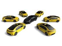 Escena del conflicto del taxi de Uber ilustración del vector