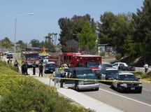 Escena del crimen de los vehículos de la emergencia Imagen de archivo