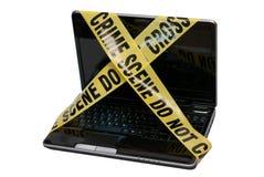 Escena del crimen del ordenador Imágenes de archivo libres de regalías