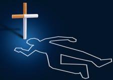 Escena del crimen - hombre matado por los cigarrillos Foto de archivo libre de regalías