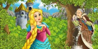 Escena del cuento de hadas de la historieta con la torre del castillo - princesa en el bosque y vieja bruja - muchacha hermosa de Foto de archivo libre de regalías