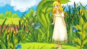 Escena del cuento de hadas de la historieta - ejemplo para los niños Foto de archivo