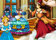 Escena del cuento de hadas de la historieta para diversas historias stock de ilustración
