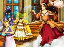 Escena del cuento de hadas de la historieta para diversas historias Imagenes de archivo