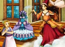 Escena del cuento de hadas de la historieta para diversas historias Foto de archivo libre de regalías