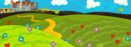 Escena del cuento de hadas de la historieta para la animación u otra ilustración del vector