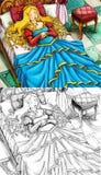 Escena del cuento de hadas de la historieta - página del colorante Foto de archivo libre de regalías