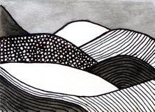 Escena del cuento de hadas de la pintura de la acuarela con las montañas Imagen de archivo