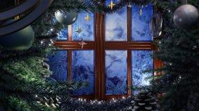 Escena del día de fiesta de la Feliz Año Nuevo con la ventana de la helada Foto de archivo libre de regalías