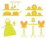 Escena del delantal de la loza de los utensilios de la cocina Fotos de archivo