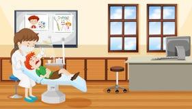 Escena del dentista y del niño stock de ilustración