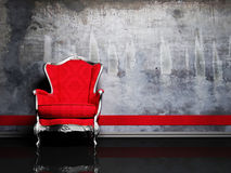 Escena del diseño interior con una butaca retra roja Fotografía de archivo