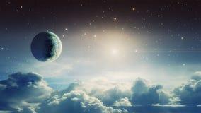 Escena del espacio Estrella el caer con la nube y el planeta Elementos equipados por la NASA representaci?n 3d stock de ilustración