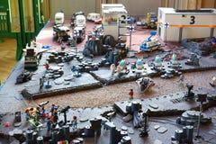 Escena del espacio exterior del equipo de filmación de Playmobil Fotografía de archivo libre de regalías