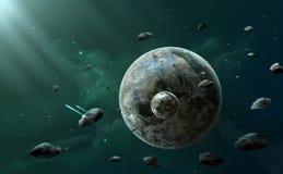 Escena del espacio Planeta dos entre los asteroides con la nebulosa verde oscuro foto de archivo libre de regalías
