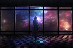 Escena del espacio a través de la ventana Fotos de archivo