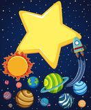 Escena del fondo con el cohete y los planetas en espacio libre illustration