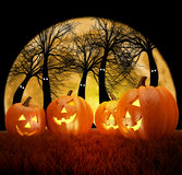 Escena del fondo de Halloween con la Luna Llena, las calabazas y el bosque oscuro Imagen de archivo libre de regalías