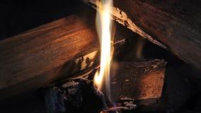 Escena del fuego almacen de video