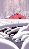 Escena del granero del invierno ilustración del vector