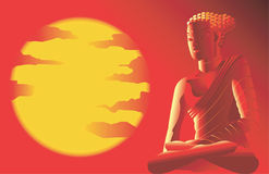 Escena del hindú-Ilustración-vector de Buda imágenes de archivo libres de regalías