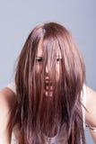 Escena del horror de la muchacha asustadiza espeluznante Fotografía de archivo