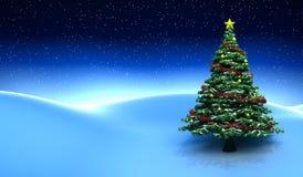 Escena del invierno con el árbol de navidad Imágenes de archivo libres de regalías