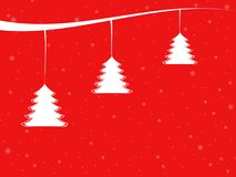 Escena del invierno con los árboles de navidad mínimos Foto de archivo