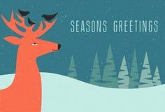 Escena del invierno de la tarjeta de felicitación de la Navidad con los ciervos stock de ilustración
