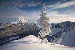 Escena del invierno del capo motor del Mt Foto de archivo