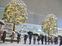 Escena del invierno en el distrito de Kichijoji en Tokio imágenes de archivo libres de regalías