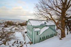 Escena del invierno en el parque de Motomachi, soporte Hakodate, Hokkaido, Japón Fotografía de archivo libre de regalías