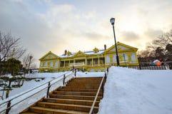 Escena del invierno en el parque de Motomachi, soporte Hakodate, Hokkaido, Japón Foto de archivo libre de regalías