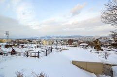 Escena del invierno en el parque de Motomachi, soporte Hakodate, Hokkaido, Japón Foto de archivo