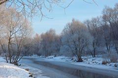 Escena del invierno en el río Fotos de archivo libres de regalías