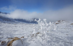 Escena del invierno en montañas caucásicas imagenes de archivo