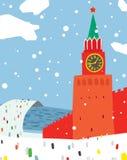 Escena del invierno en Moscú el Kremlin Imágenes de archivo libres de regalías