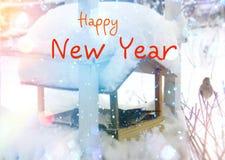 Escena del invierno Tarjeta de felicitaciones de la Navidad y del Año Nuevo Fotografía de archivo libre de regalías