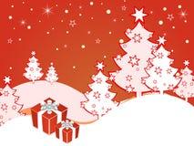 Escena del invierno - tarjeta de Navidad stock de ilustración